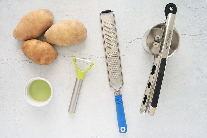 Tools and ingredients for making Crispy Hash Browns