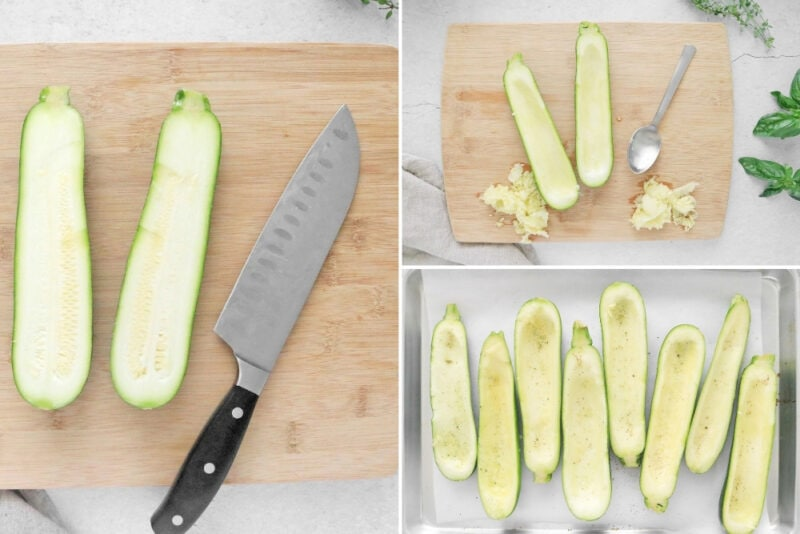 Cutting and scooping zucchini on a cutting board