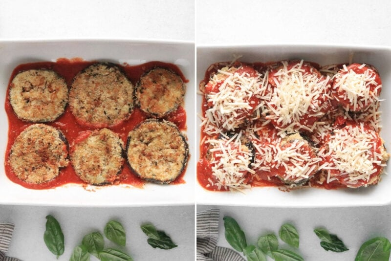 Process for laying breaded eggplant and baking it for Eggplant Parmesan