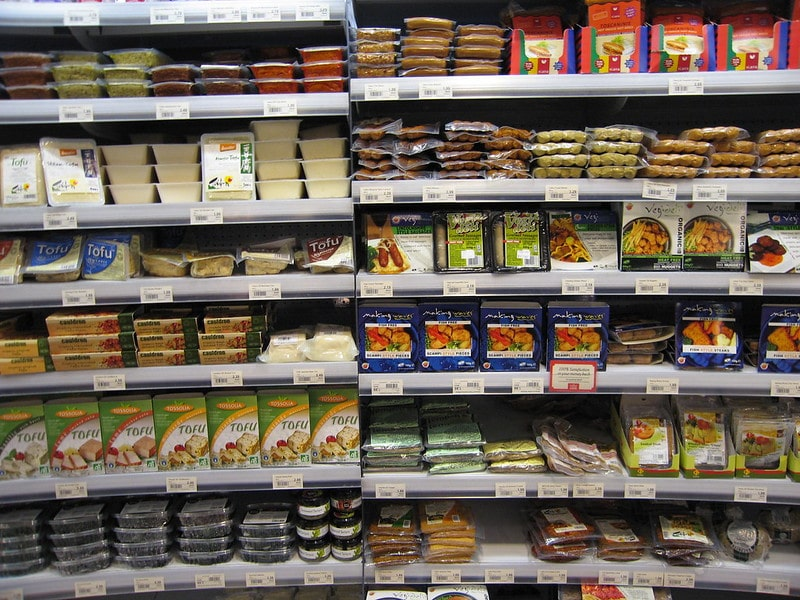 Fake meat on shelves at the grocery store