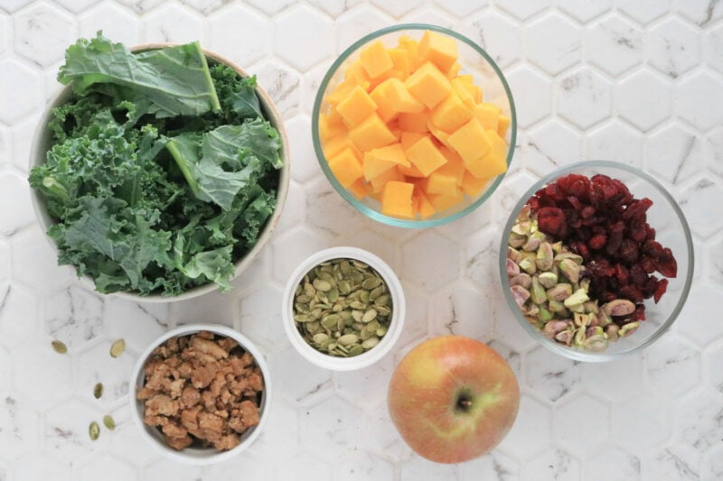 Ingredients for Fall Harvest Salad with Maple Vinaigrette