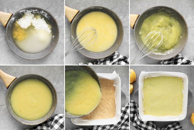 6-step process for creating the lemon curd filling