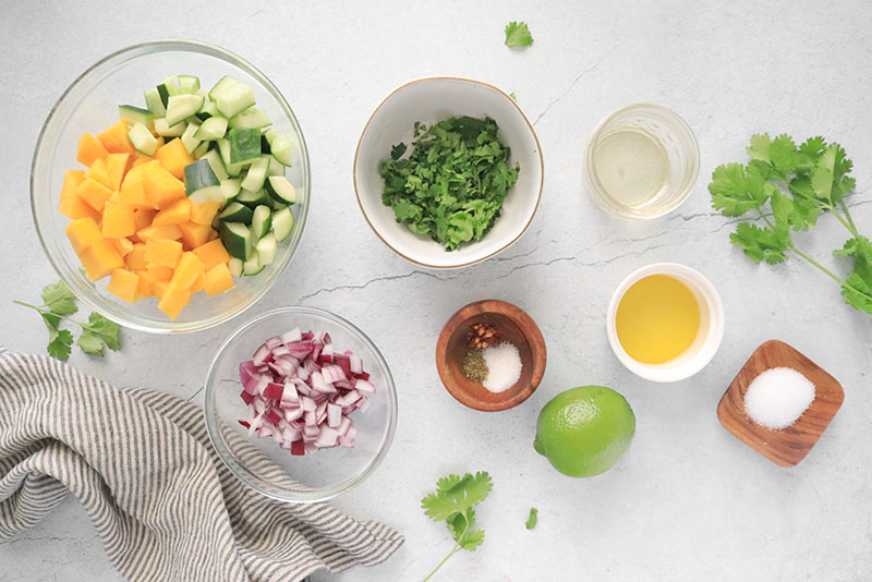 Ingredients for Mango Cucumber Salad