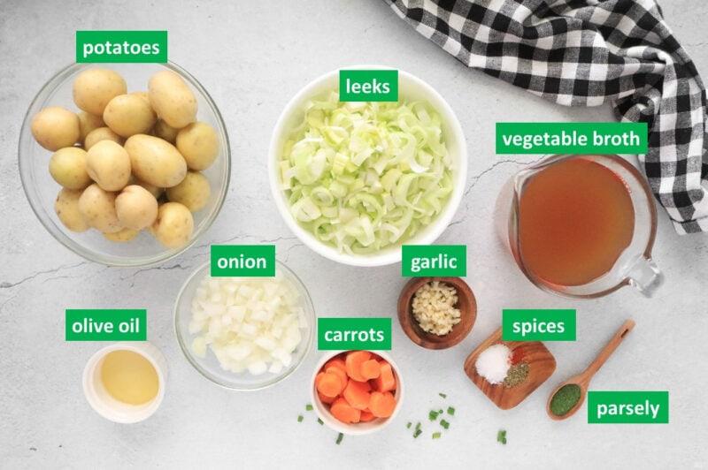 Key ingredients to make chunky potato leek soup