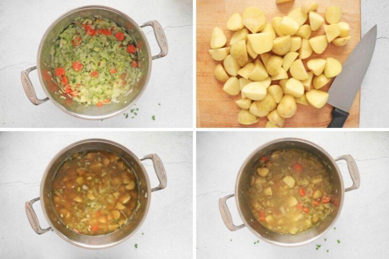 Four steps to making potato leek soup