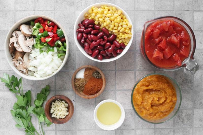 Vegan Pumpkin Chili ingredients