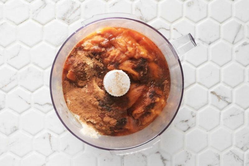 pumpkin fruit dip ingredients in a food processor