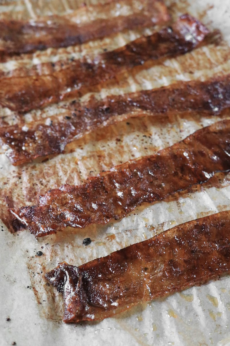 Rice Paper Bacon on parchment paper