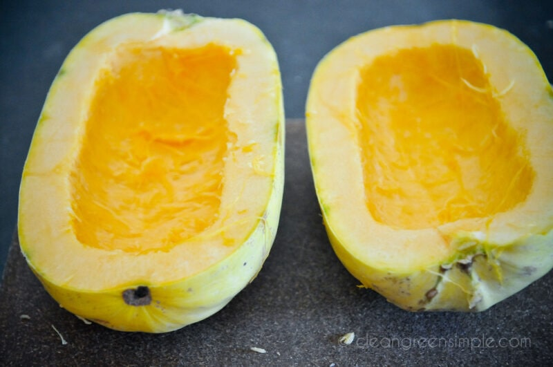 Spaghetti squash cut lengthwise with seeds removed