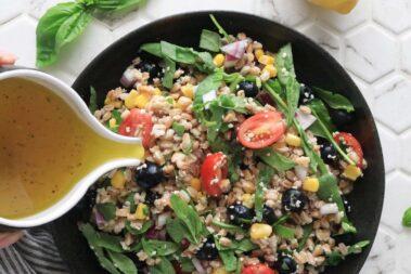 Summer Farro Salad with Lemon Vinaigrette