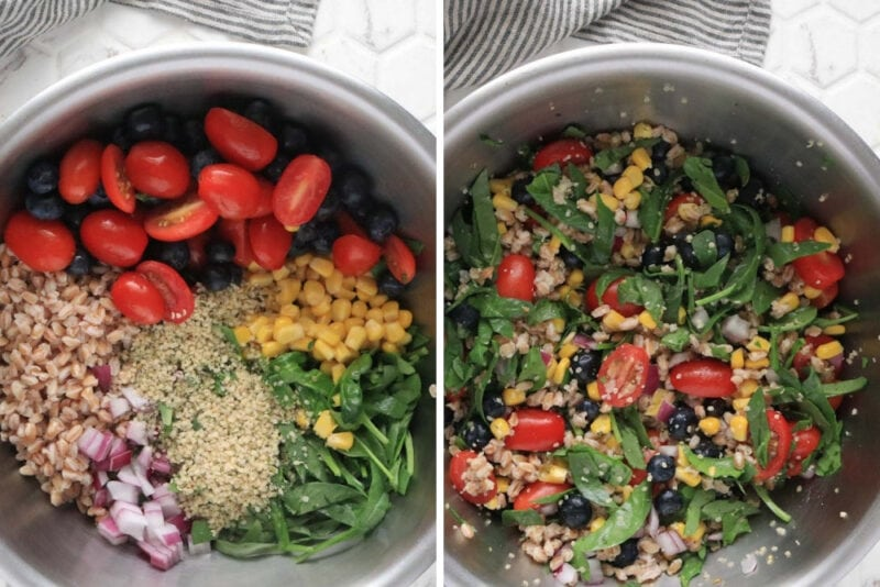 Left: farro salad ingredients in a metal mixing bowl. Right: same ingredients tossed together.