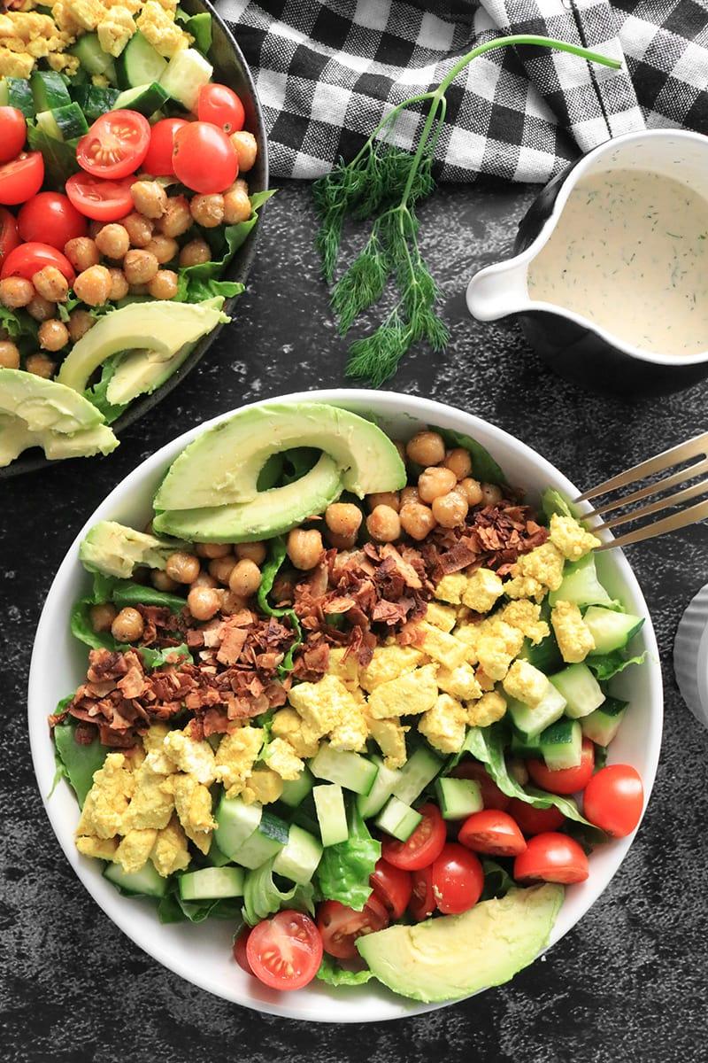 Vegan Cobb Salad with coconut bacon