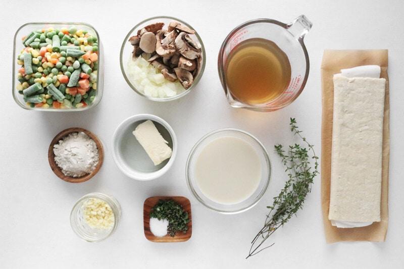 Vegan Pot Pie ingredients on a white background