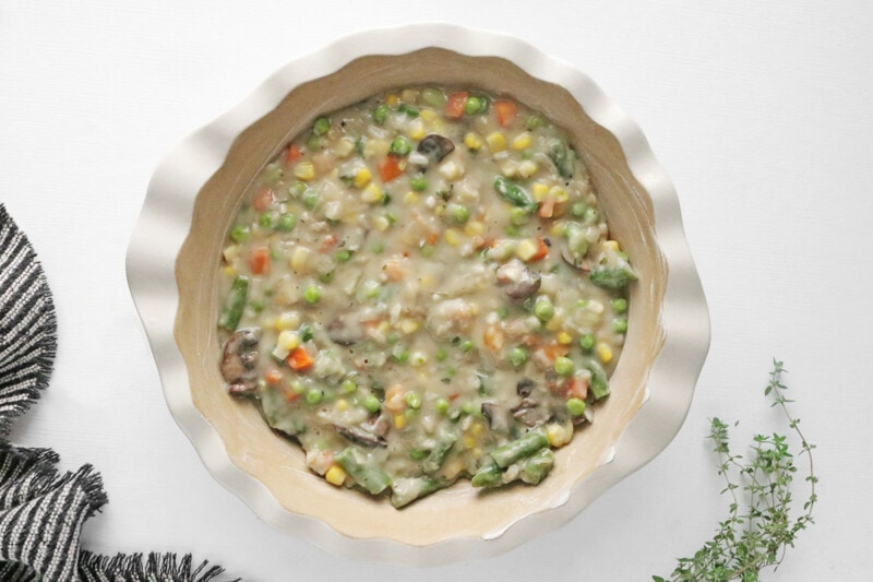 Vegan Pot Pie filling in a deep pie dish