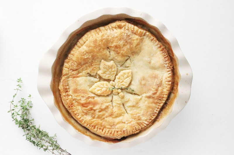 Finished Vegan Pot Pie on a white countertop