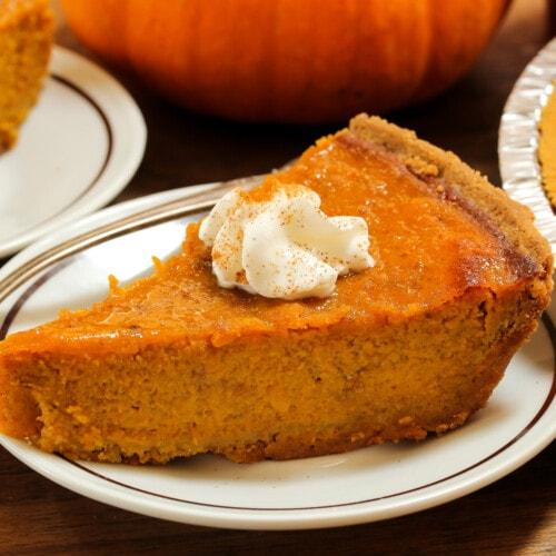 Pumpkin Pie on a white plate