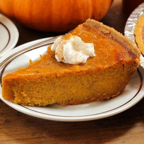 Vegan pumpkin pie on a white plate