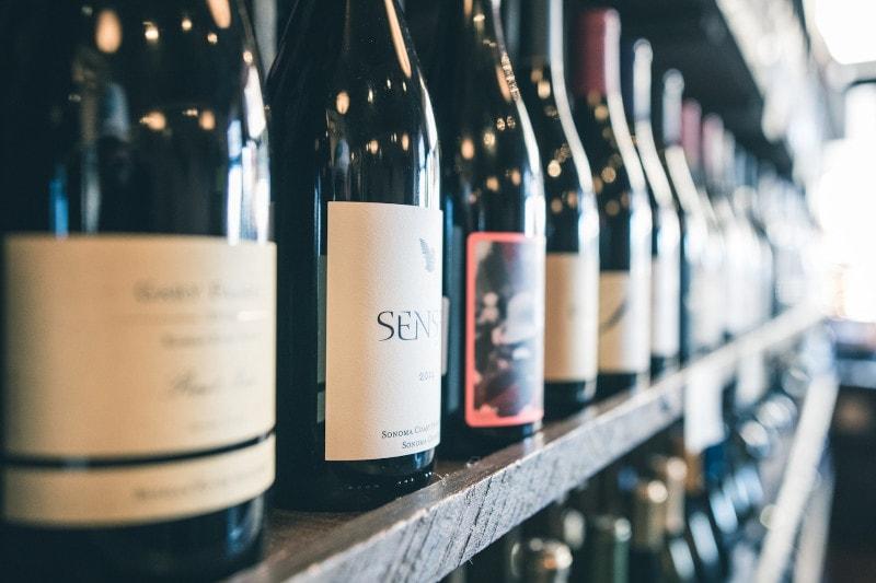 wine on shelves in store